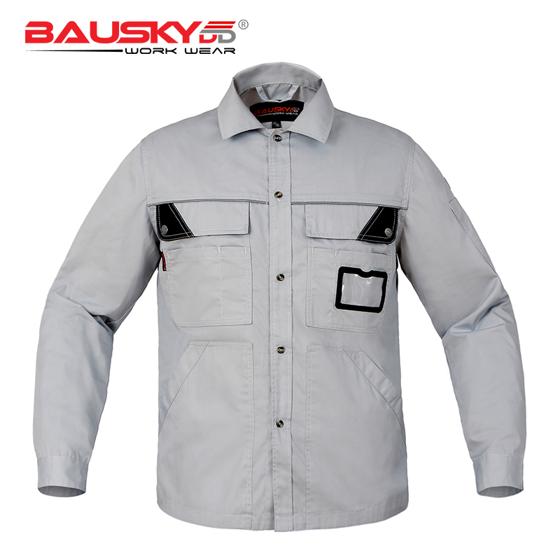 Bauskydd Workwear Work T shirts Mens Long Sleeves Multi Pocket Extra Large Size Embroidery Logo Light Dark Grey light grey simple long sleeves sweater