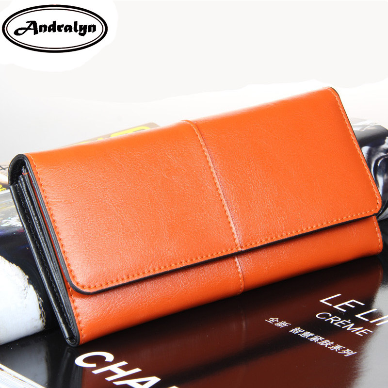Andralyn European Big Purse Handbag Female 2 Fold Long Wallet Multi-card Bits Cow Split Leather Hasp Clutch Wallets for Women