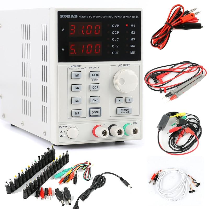 Korad KA3005D Presisi Adjustable Digital Programmable DC Power Supply Laboratorium Power Supply 30V 5A + Laptop AC DC Jack telepon