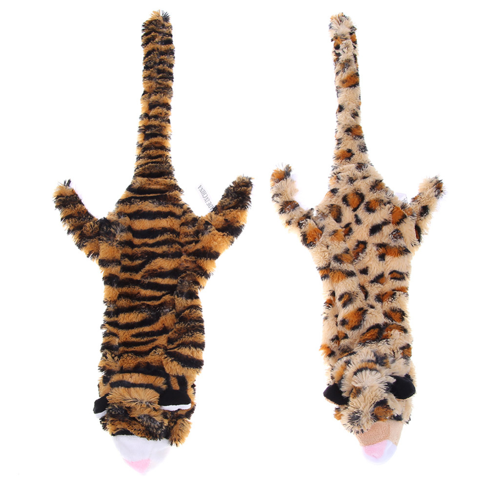 Pet Interactive Toys Animal Shape Tiger/Leopard Sound Bite Resistant Chew Squeak Toy