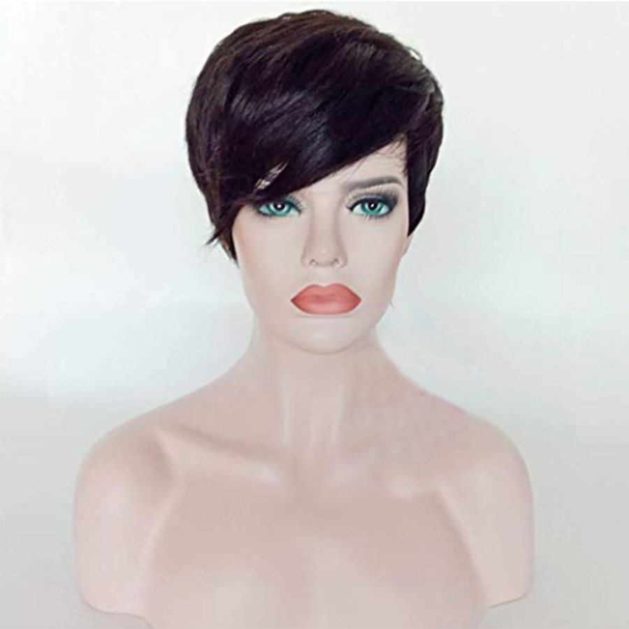 Remy Brazilian Short Pixie Human Hair Wigs For Women Side Bangs Glueless Black Color Side Bangs