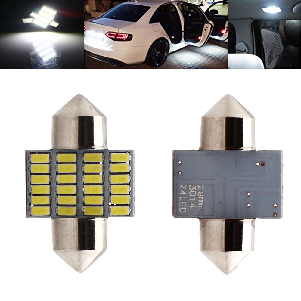 Car Styling 2PCS C5W Car Led 28mm 31mm 3014 24 SMD 24LED 6000K Bulbs For Door Lights Festoon Light in Signal Lamp from Automobiles Motorcycles