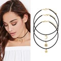 New Summer Fashion Sun Moon Star Maxi Necklace Women Fashion Black Leather Choker Necklaces Statement Jewelry 3pcs/set F4019