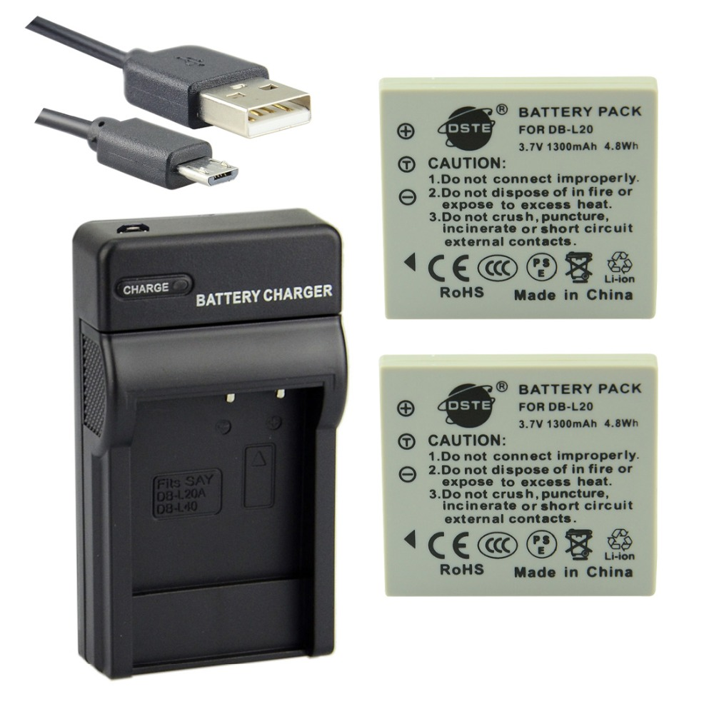 DSTE 2pcs DB-L20 Li-ion Battery + UDC77 usb charger for SANYO DMC-C1 C4 C5 DSC-K4 CA65 E60 CG65 E6 CG6 CA6 DMX-CA8 Camera image