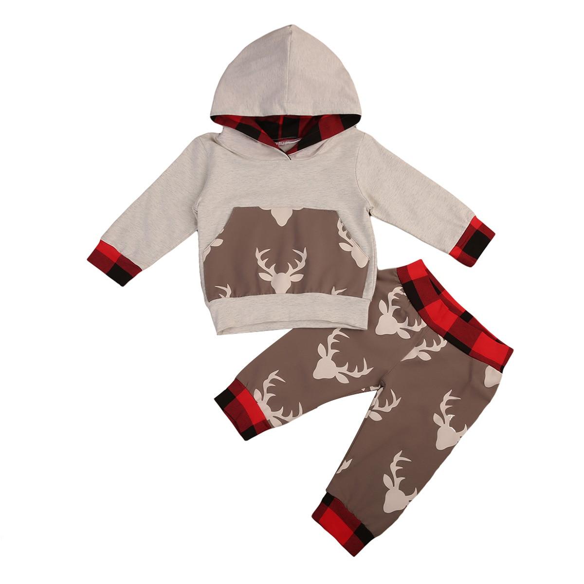 Plaid deer print baby hoodie autumn clothes set Newborn Baby 2pcs deer Pattern Clothes Boys Girls Hoodie Tops+Pants Set 0-24M