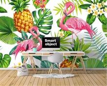 Купить с кэшбэком Beibehang Nordic hand-painted tropical plant Flamingo TV sofa background wall fashion papel de parede 3d wallpaper Photo mural