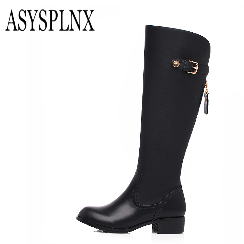 ASYSPLNX brand 2018 winter black fashion knee boots, ladies boots B016 asysplnx brand 2018 winter fashion boots pointed elastic thick heeled knee like zippered women s boots b082