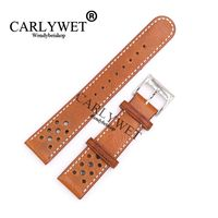 CARLYWET 22mm Light Brown Real Leather Replacement Thick Vintage Wrist Watch Band For CITIZEN Omega Mido