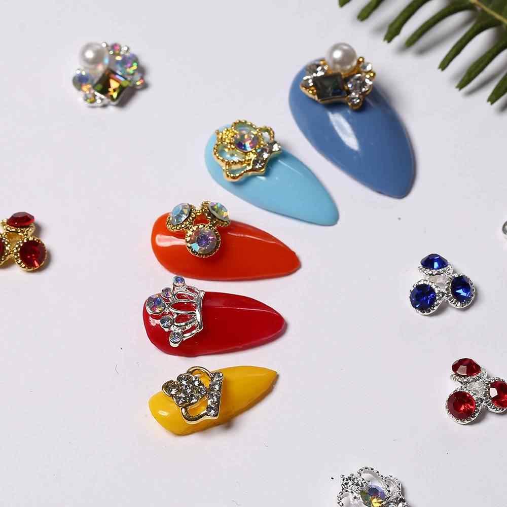 Azure Kecantikan 12 Pcs Emas Rivet Bunga Jantung Bentuk Buah Bening Kristal Berlian Mahkota Berlian Imitasi Bentuk Seni Kuku Berlian DIY alat