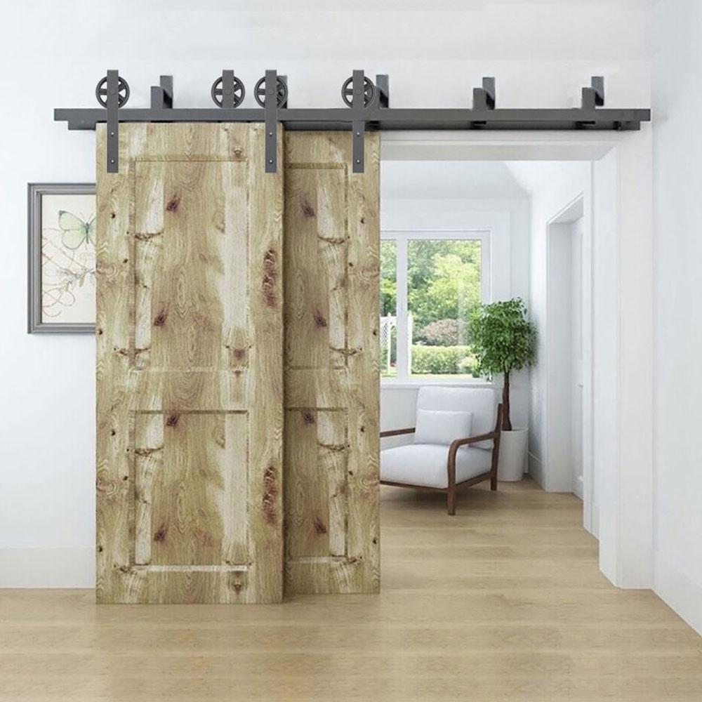 5 8ft Big Black Wheel Steel Sliding Barn Door Hardware Interior Door