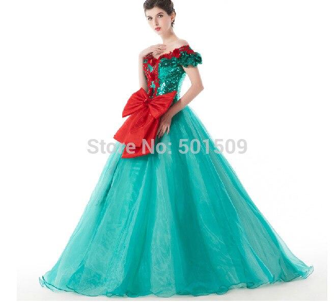 Paillettes vertes broderie gros nœud rouge robe Renaissance médiévale Sissi robe princesse victorienne Gothi/Marie Antoinette/Belle balle