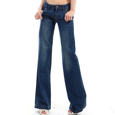 2017 New Style Womans Wide Leg Jean Pants , Slim Fashion Casual Denim Trousers For Women , Female Large size Jeans new women girls casual vintage wash denim overall suspender jean trousers pants boyfriend style denim shorts blue