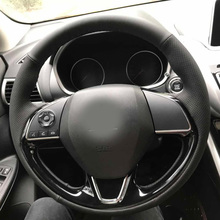 High Quality cowhide Top Layer Leather handmade Sewing Steering wheel covers protect For Mitsubishi Mirage/L200