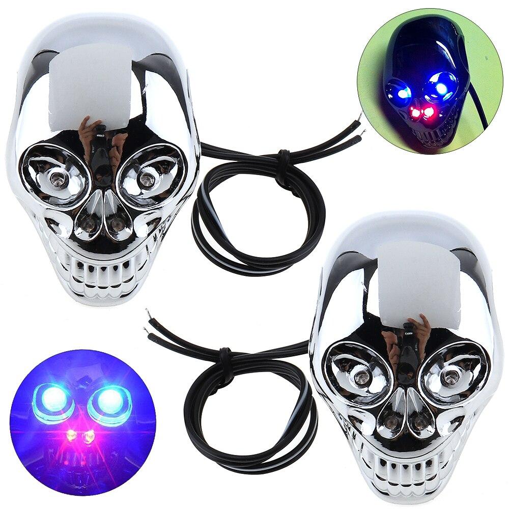 1 Pair 12V Skull Turn Signal Lights LED Turn Signals License Plate Light For Motorcycle Motorbike Sliver Color