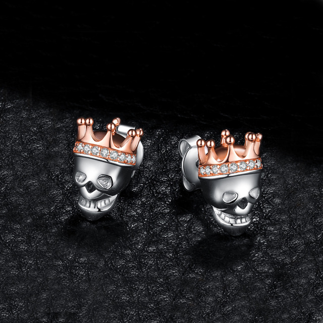 ORIGINAL 925 STERLING SILVER KING CROWN SKULL EARRING