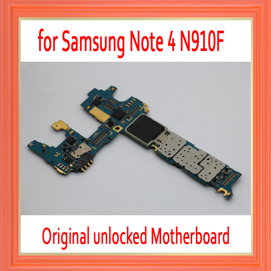 with Android System for Samsung Galaxy Note 4 N910F Motherboard,32gb Original unlocked for Note 4 N910F Mainboard,Free Shipping