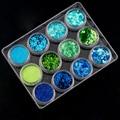 12 Colors/set Nail Art Acrylic 3D Mix Designs Sea Series Glitter Shape Sequins Powder Set for Nail Decoration DIY