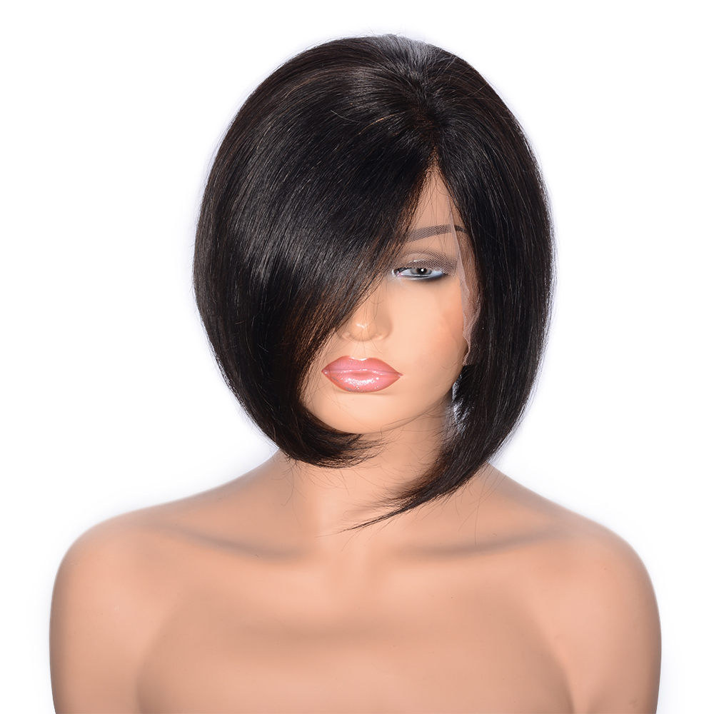 Short Brazilian Straight Full Lace Human Hair Wigs With Baby Hair Glueless Remy Full Lac ...