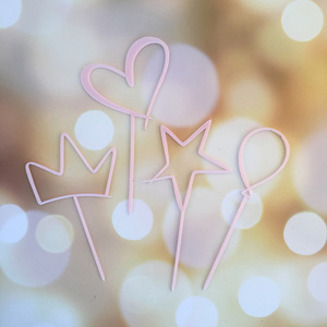 Image 3 - Акриловый Топпер для торта, 4 шт./лот, милая корона в форме сердца, звезда, Топпер для капкейка на свадьбу, День Святого Валентина вечерние ринку, Baby Shower, украшения для торта