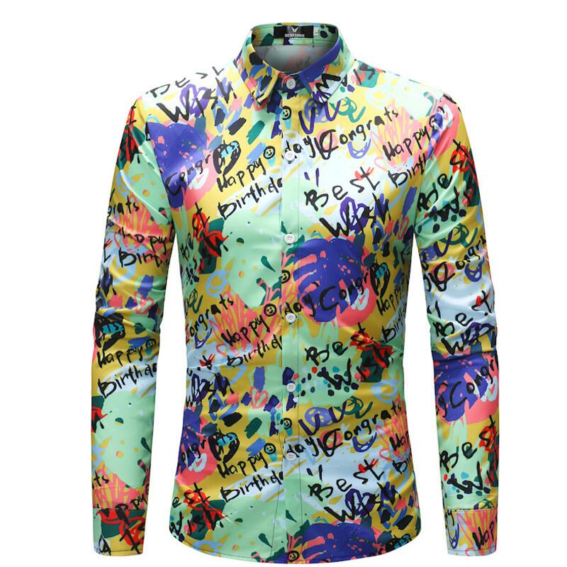 Men's fashion trend personality men's wear English blessing letter printed long sleeve shirt large size shirt.