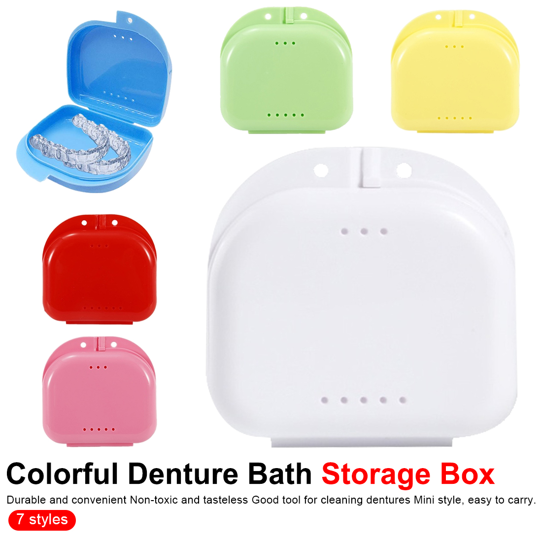 Dentures Cleaner Tool 1pcs 7 Colors Denture Bath Storage Box Case Dental False Teeth Appliance Container Storage Boxes