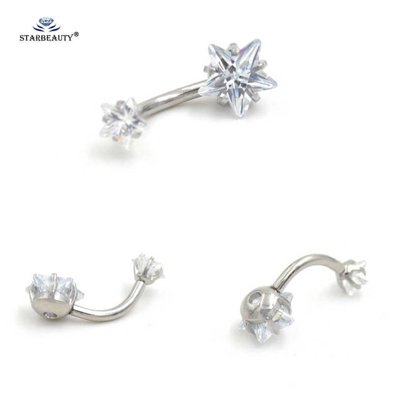 1 шт., кольцо для пирсинга живота со звездами для пары, Ombligo, кольцо для пупка, кольцо для пирсинга, белое кольцо для живота, серьги-спирали, ювелирные изделия для тела