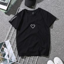 Women 2019 Summer T-shirts Tops Causal Love Printed Plus Size Tee T-Shirts Six Color O-neck Short Sleeve T-shirt