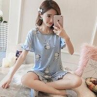 Korean Short Sleeve Women Cute Pajamas Japanese Kawaii Cartoon Rabbit Print Sleepwear Casual Home Wear Two Piece Sets Clothes