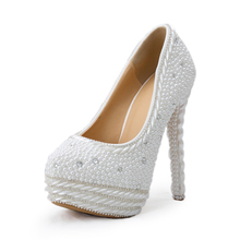 Gorgeous Vogue White High Heels Pearl Wedding Shoes Handmade Round Toe Bridal Dress Shoes font b