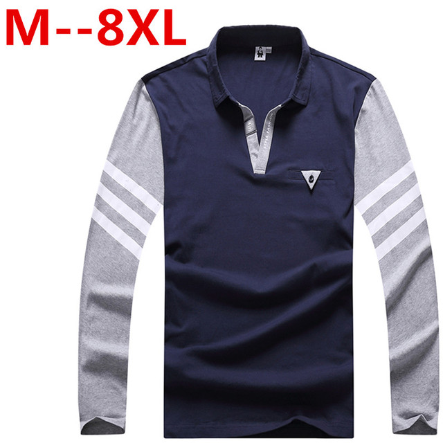 Plus size 8XL 7XL 6XL 5XL men's business casual long-sleeved POLO shirt 2016 autumn new minimalist personality stitching men's