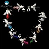 6 pçs feito à mão colorido charme vidro anjo da guarda asas pingente diy para fazer jóias 22526-1