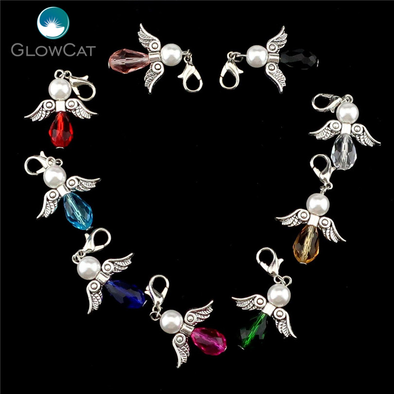 6PCs Handmade Colorful Charm Glass Guardian Angel Wings Diy Pendant For Jewelry Making 22526-1(China)