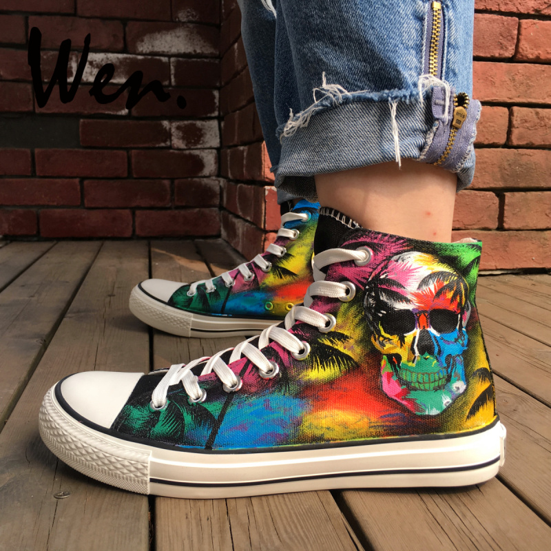 Wen Black Skate Shoes Canvas Multicolored Decoration Skull Coconut Palm Tree Design Custom High Top Unisex Hand Painted SneakersWen Black Skate Shoes Canvas Multicolored Decoration Skull Coconut Palm Tree Design Custom High Top Unisex Hand Painted Sneakers