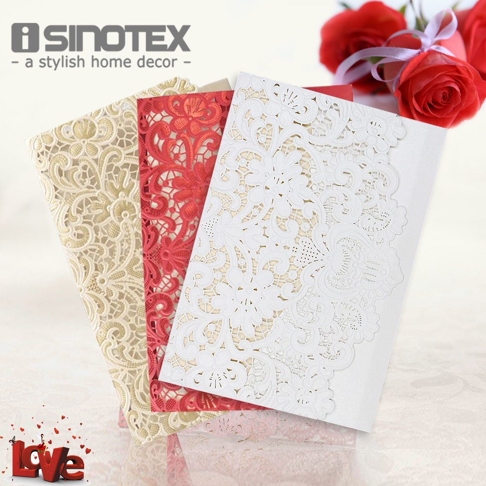 wedding invitations cards laser cut lace birthday business party invitations cards white golden red