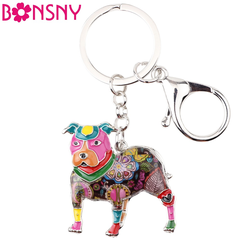 Detail Feedback Questions about Bonsny Enamel Dog Jewelry Boston Terrier  Pit Bull Key Chain Key Ring Pom Gift For Women Girl Bag Charm Keychain  Pendant ... e421fdbc8c