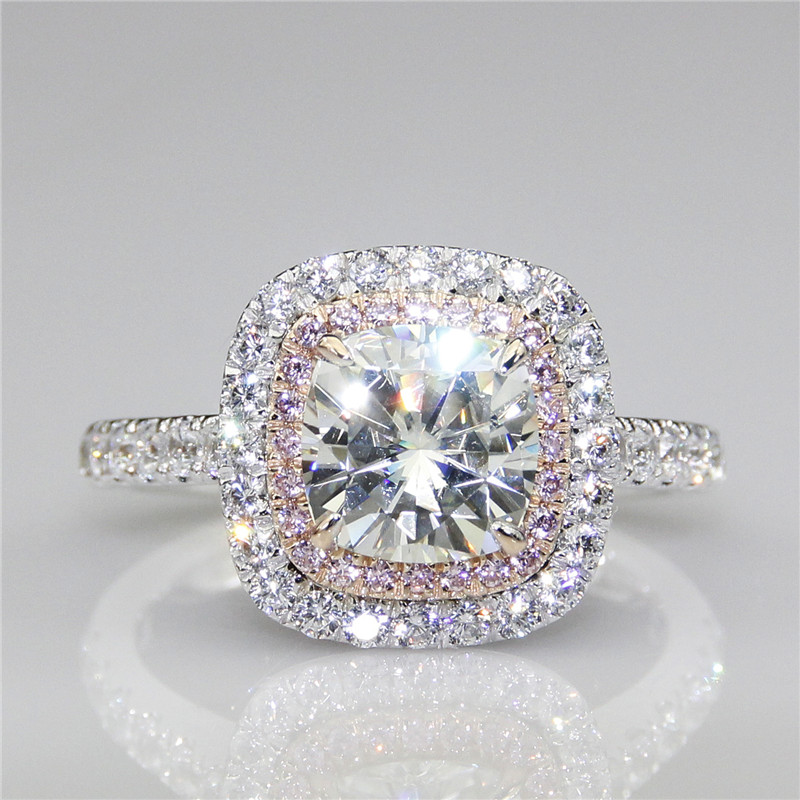 LASAMERO Cushion 2 CT Moissanites Double Halo Pink Pave