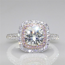 LASAMERO Cushion 2 CT  Moissanites Double Halo Pink Pave Set Accents 9k White Gold Lab Grown Diamond Engagement Ring