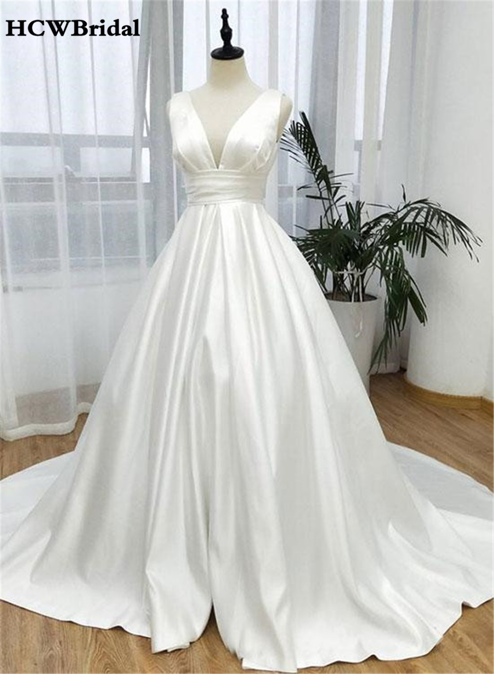Custom Made White Satin Wedding Dress V Neck Sweep Train A