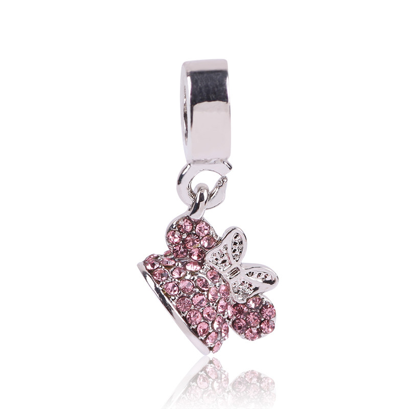 New Arrival Original 925 Silver Beads Mickey Minnie Heart Charms Pendant Fits Pandora Bracelet DIY Jewelry Making Lovely Cute