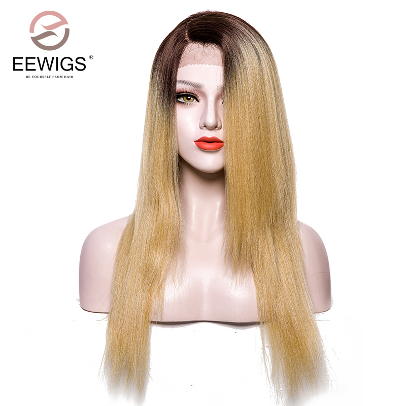 Synthetic Lace Front Wigs Yaki Straight Wig L Part Two Tones Ombre Blonde Wig Artificial ...