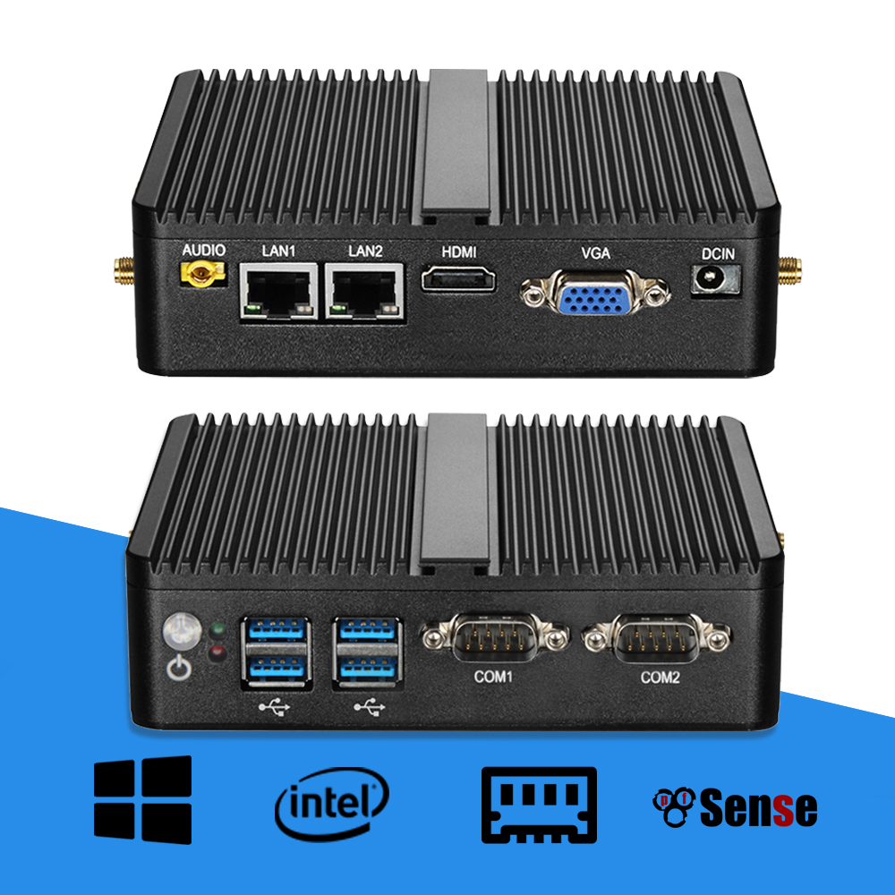 Mini PC Celeron J1900 Quad Core Windows 10 Double LAN 2 * COM Sans Ventilateur Mini-Ordinateur Celeron J1800 N2810 NetTop 300 m WIFI HDMI VGA