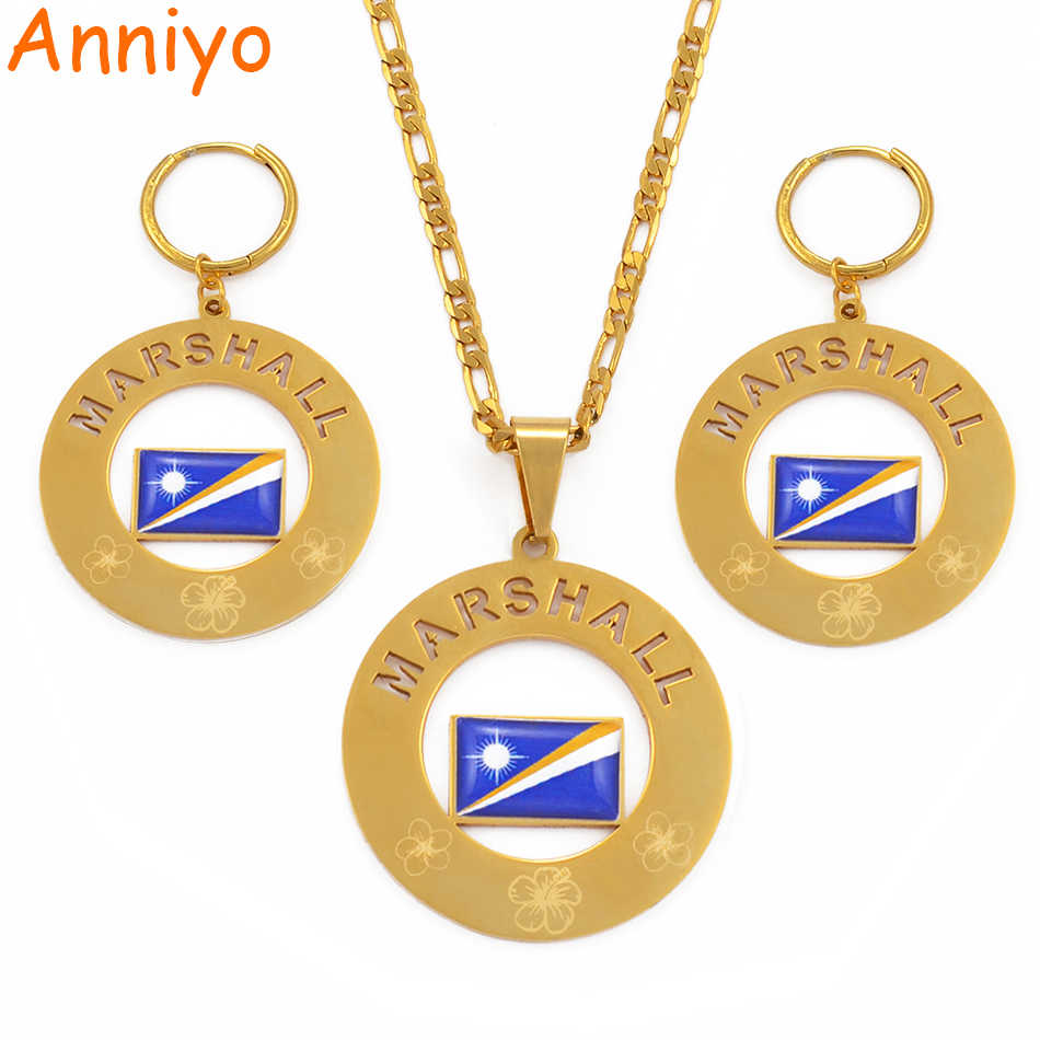 Anniyo Marshall Flag Pendant Necklaces & Big Spring Ring Earrings Jeweller set Marshall Islands Jewelry for Women Gifts #097321