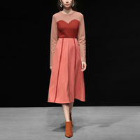 Красный RoosaRosee 2019 Женская Весенняя Новинка европейской и американской моды цвет лоскутное трикотажные топы Корректирующие + тонкая талия за