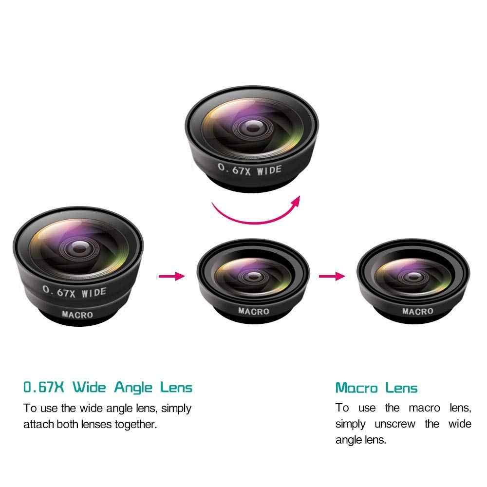 Ascromy אוניברסלי 3 ב 1 רחב זווית עדשות טלפון סלולרי מצלמה עין דג עדשת זום טלה ערכת Smartphone עבור Samsung huawei P30