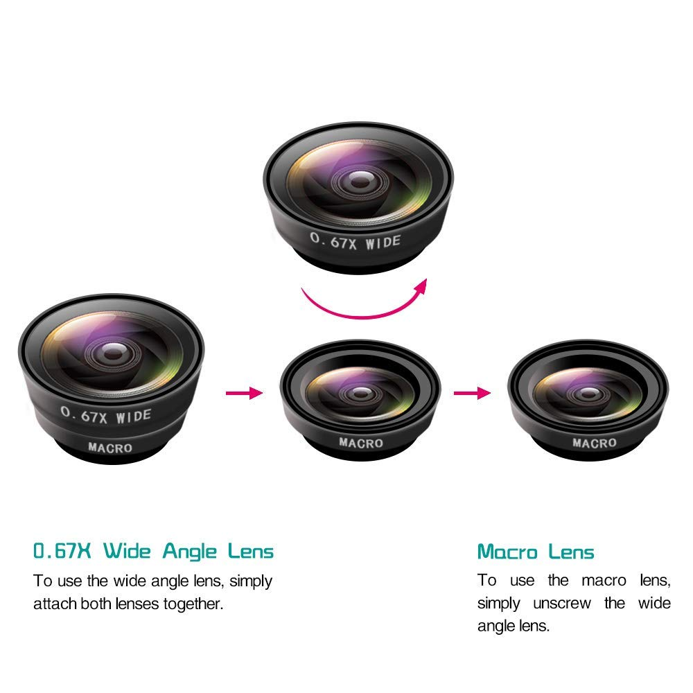 Ascromy Universal 3 in 1 Wide Angle Phone Camera Lenses For Samsung Huawei P30 1