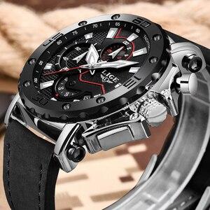 Image 1 - LIGE montre de luxe analogique en cuir pour homme, horloge à Quartz masculine de marque, sportive, style militaire, Date, 2019
