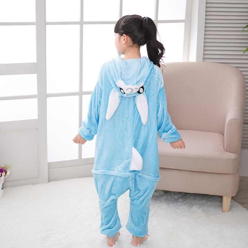 2018 חורף לנערים בנות Kigurumi ורוד כחול קריקטורה ארנב ילדים סרבל 4 6 8 10 12 שנים ילדים סרבל תינוקות הלבשת