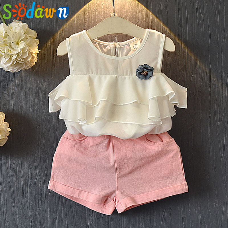 Sodawn 2018 Summer New Fashion Girls Clothes Suit Chiffon Collar Shirt + Shorts 2pcs Children Clothing Kids suit Girls Clothes