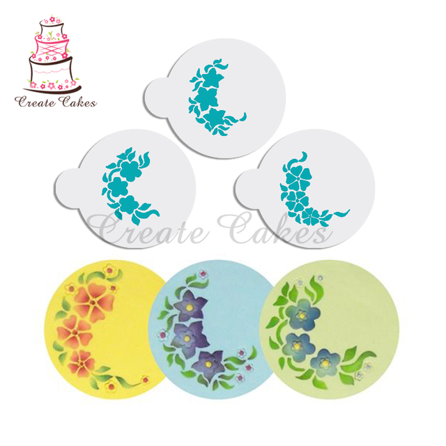 Mini Floral Sprays Cookie Stencils,Baking Fondant Tool for Cakes ...