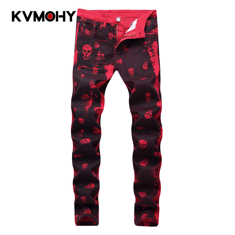 Jeans Men Quality Brand Casual Denim Pants Straight Slim Fit Red Skeleton Printing Male Trousers Hip Hop Mens Skinny Jeans